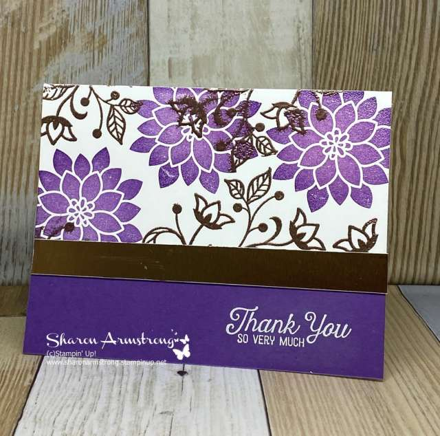 DIY-Thank-You-Card-with-Purple-Textured-Background-and-Stamped-Flowers