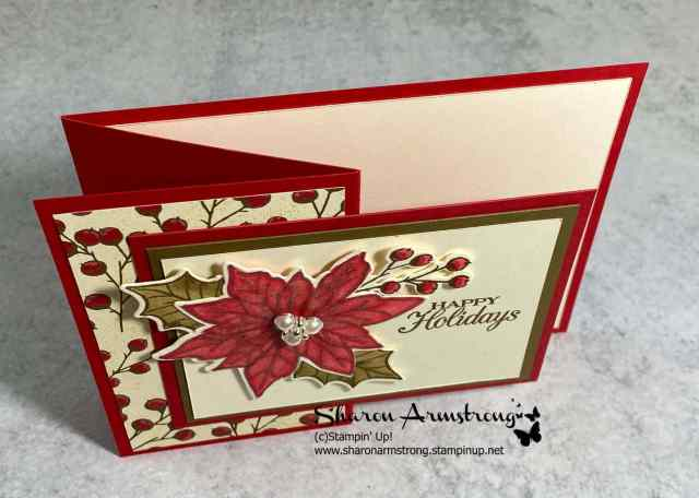 This is the top view of this Poinsettia fun fold card where you can see it makes the z-fold shape