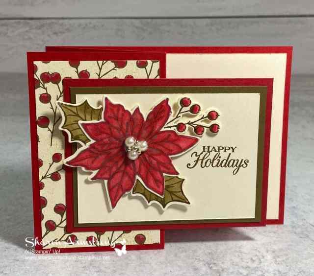 I used a pearl embellishment to top off this Poinsettia fun fold card.