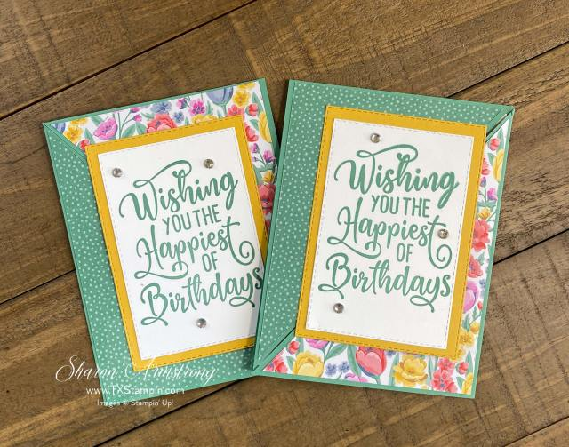 For these fun fold triangle cards I featured the Stampin' Up! 'Happiest of Birthdays stamp set.