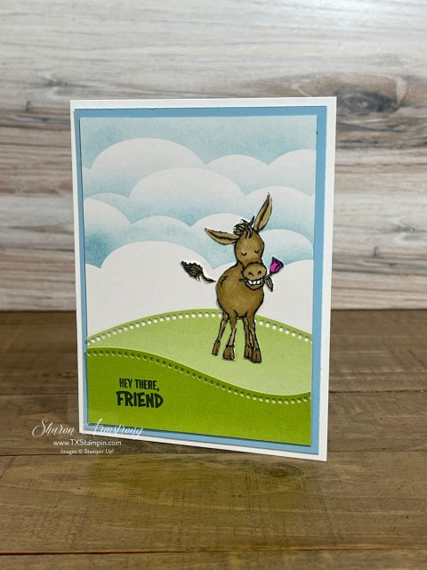 You can easily make an inked cloud background for added fun to this Darling Donkey.