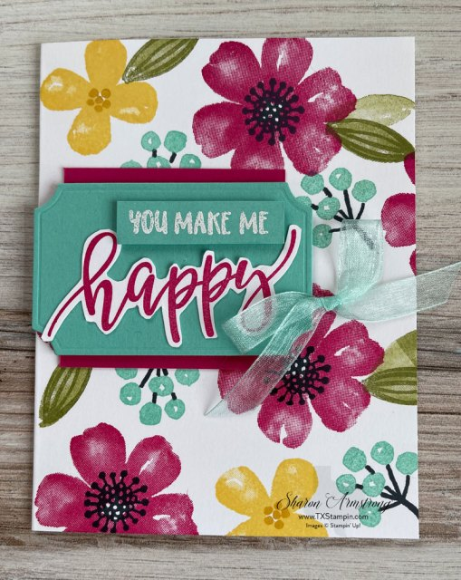 This simple card making idea features the stamps from Stampin Up Pretty Perennials to make your own background paper.