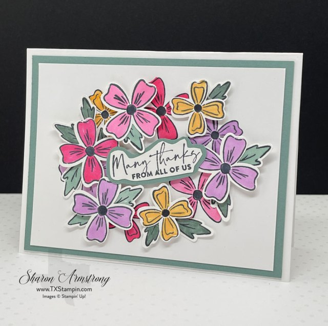 I used the Flowers of Friendship bundle to make a 'wreath' of flowers on this greeting card.