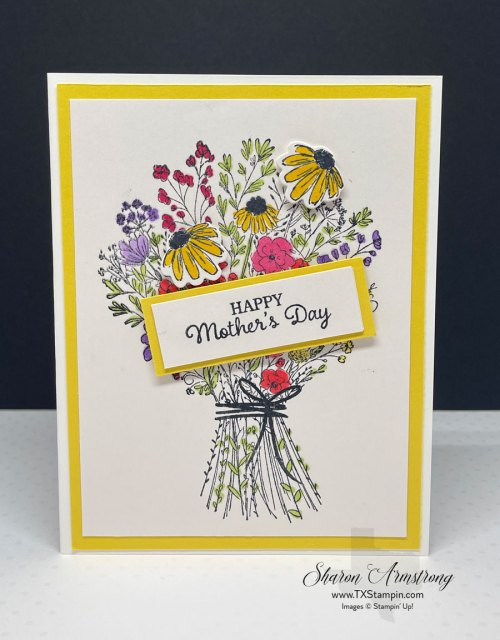This is a handmade Mother's Day card I DIY'd using the Stampin' Up! Hand Drawn stamp set.