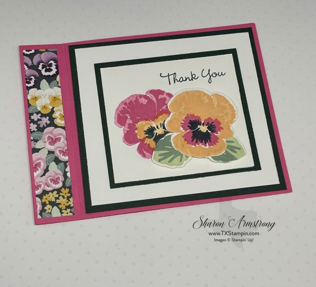 This pansy petals greeting card features the stamp set.