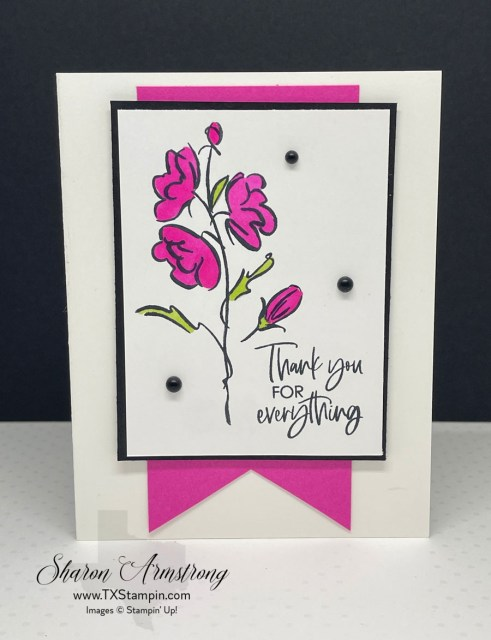 You can make your thank you card with simple stamping and a colorful banner.