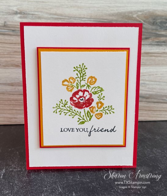 Easy cards to make start with a focal stamp and then add layers of cardstock.