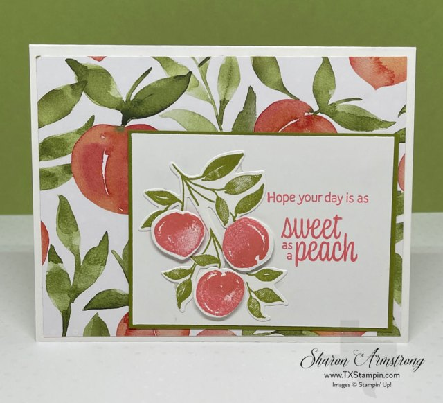 On this Sweet as a Peach card I popped up some of the peaches with dimensionals (craft foam dots)