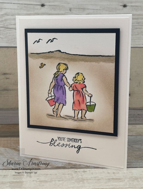 I used Stampin' Blends to add 'sand' to the beach on this fun summer card.