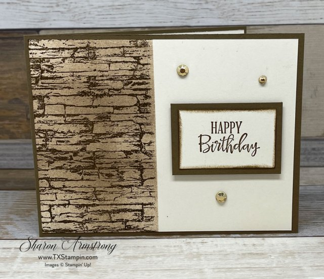 Make birthday cards for men with the Stampin' Up! Stacked Stone stamp.