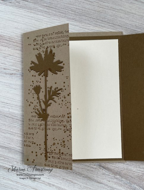 This flap fold card was stamped first and then I used a die cut layer on top.