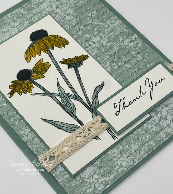 Make a thank you card with stamped image, lace ribbon, and simple greeting.