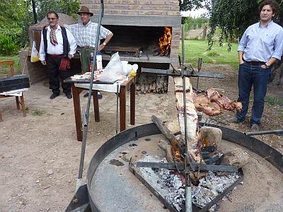 Cooking the asado dinner