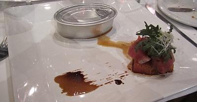 Seared ahi tuna with salmon sashimi with guacamole in can