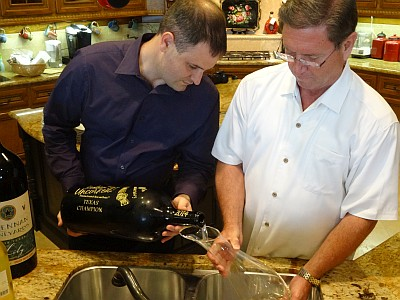Paul and Bill pouring first wine