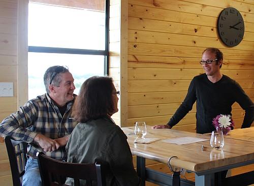 Jeremy Wilson and customers at Kuhlman Cellars