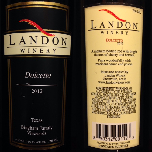 Landon Winery's Dolcetto 2012