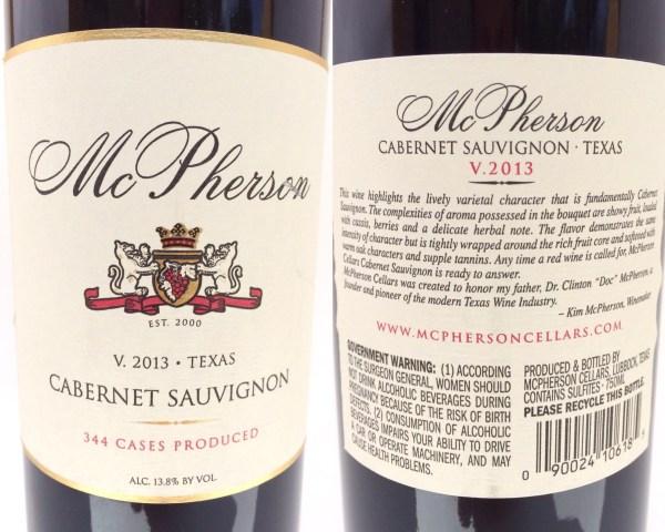McPherson Cellars Cabernet Sauvignon labels