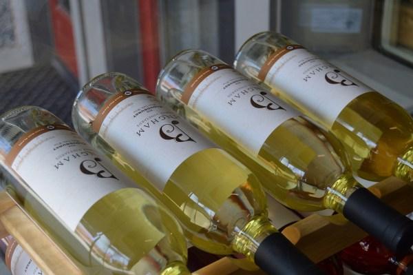 Bingham Family Vineyards wines in a rack