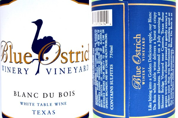 Blue Ostrich Blanc du Bois labels