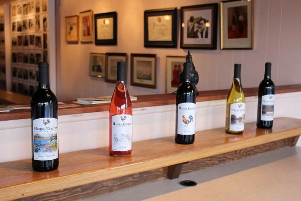 Hahne Estates wine bottles