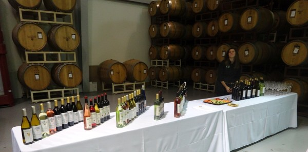 Barrel room wine bottles