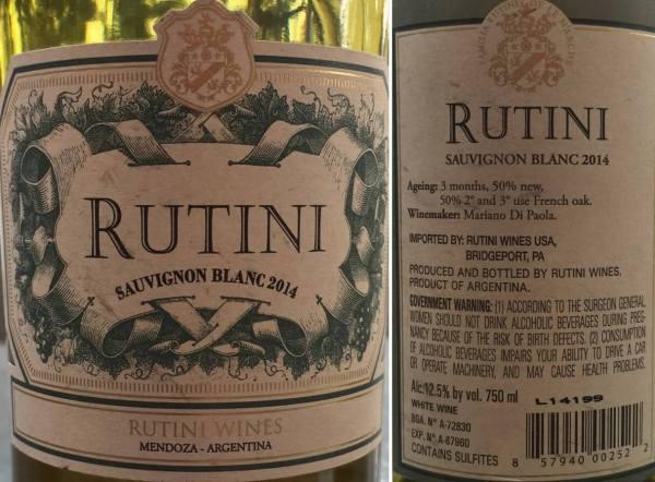 Rutini Sauvignon Blanc 2014 labels