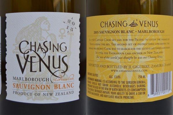 Chasing Venus Sauvignon Blanc labels