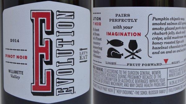 Evolution Pinot Noir 2014 labels