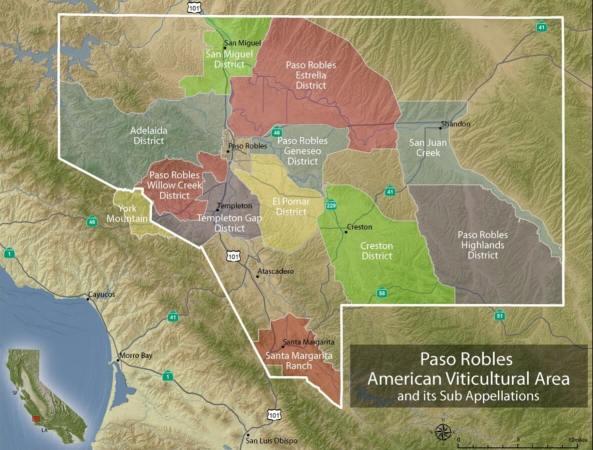Paso Robles AVA map