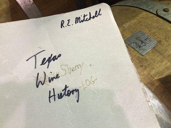Texas Wine Sherry History