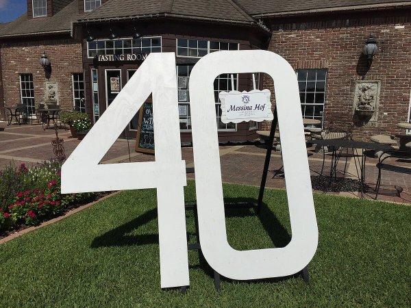 Messina Hof 40th Anniversary Sign