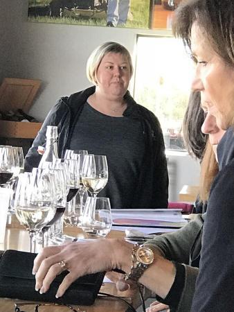 Kuhlman Cellars Marketing Director Jennifer Beckmann leading a Vina Vita University class on wine faults, flaws, and imbalances