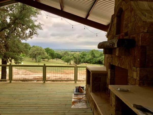 Hill Country view from the deck at Texas Heritage Vineyard