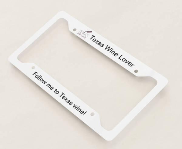 Texas Wine Lover license plate frame angled