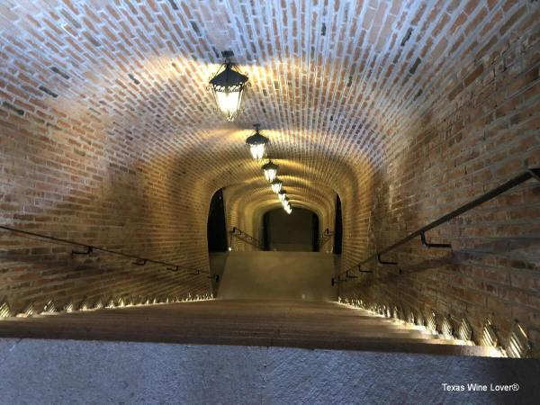 Looking down the Freixenet cellar stairs