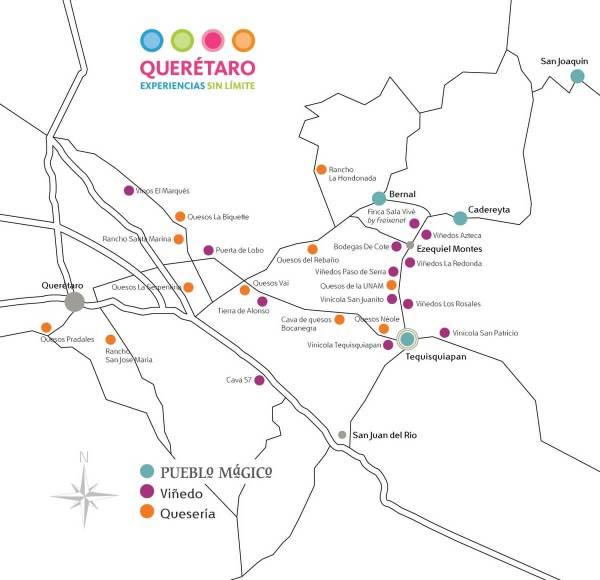 Querétaro wine region map