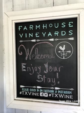 Farmhouse Vineyards Guest Cottage welcome sign
