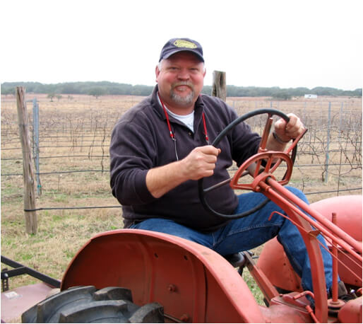 Guy Stout on his tractor