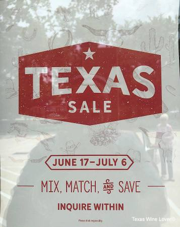 Twin Liquors has a special sale on Texas wines through early July