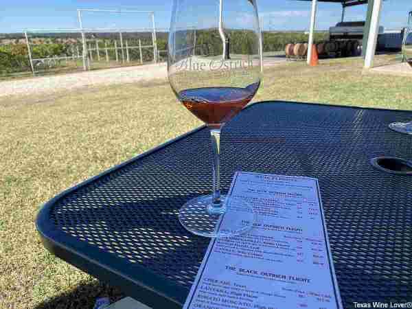 Blue Ostrich wine glass