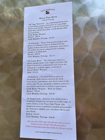 Texas Heritage Vineyard tasting menu