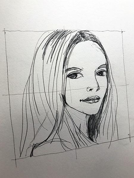 曲のイメージから描いてみたラフスケッチ。この女性を主人公にしようと思います。
