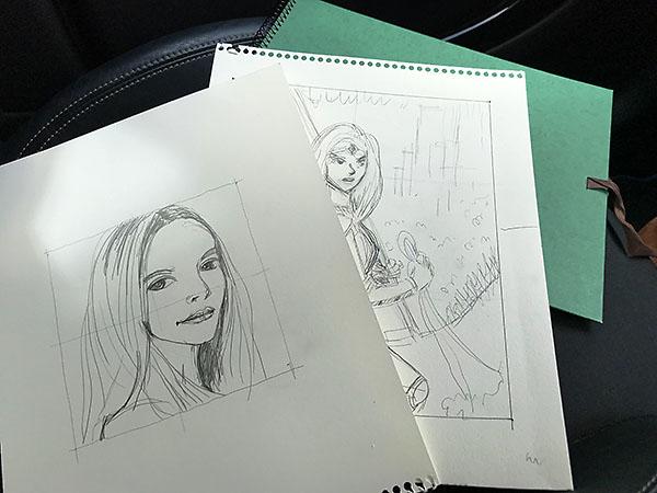 作品作りにあたり数枚のデッサンを描いています。これらも作品として飾ることにしました。