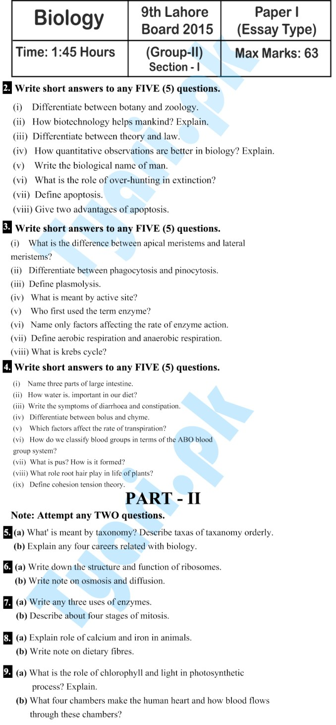 9th Class Biology 2015 (Subjective) Past Paper Lahore Board English Medium [Group 2nd]