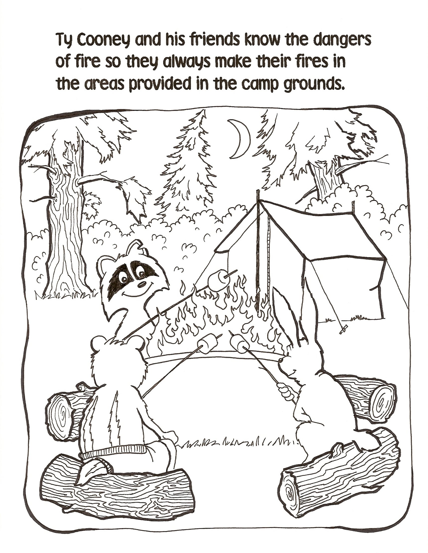 Children Camp Fire Colouring Pages Sketch Coloring Page