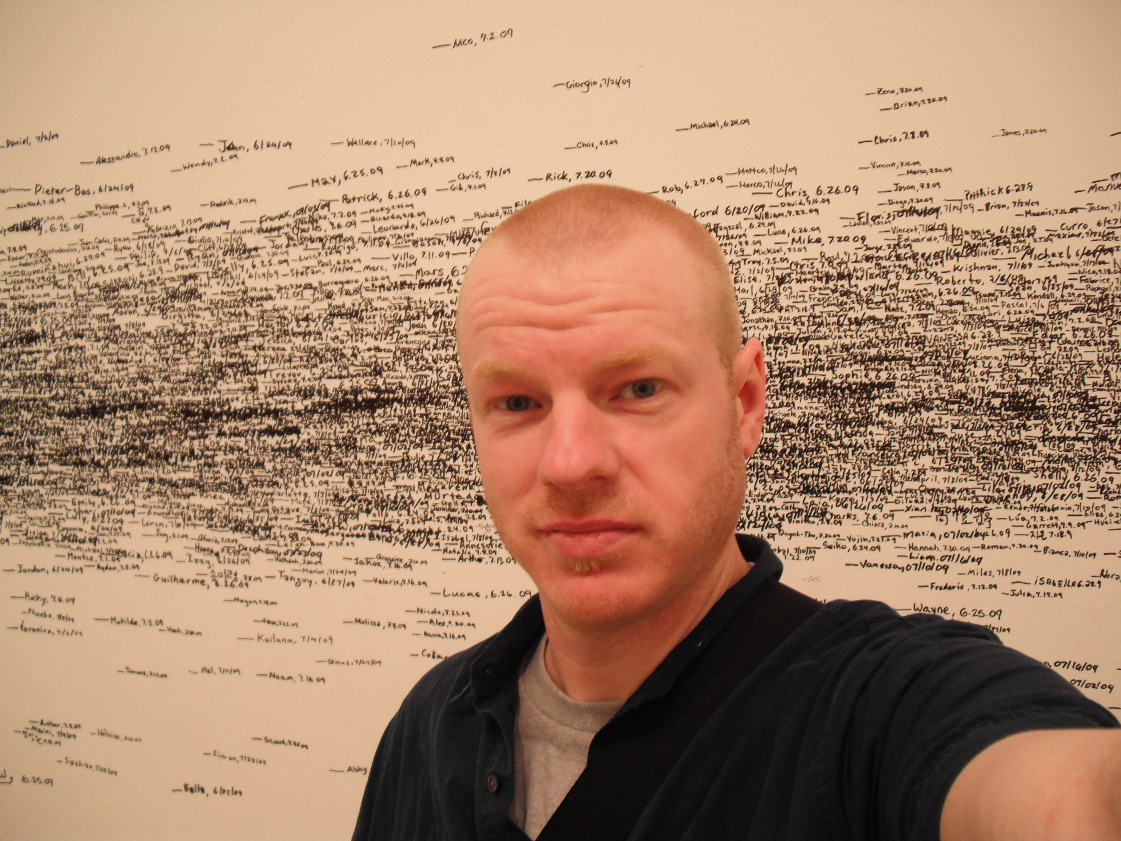 """at MoMA, in the """"mark your height"""" room."""