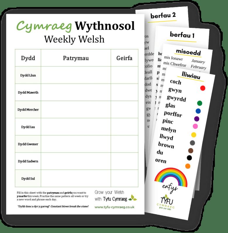 Free Welsh Weekly Planner Dysgu Cymraeg
