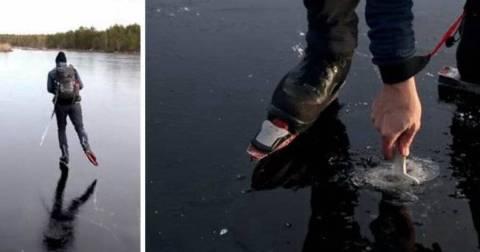 Смельчак решил прокатиться по тонкому льду