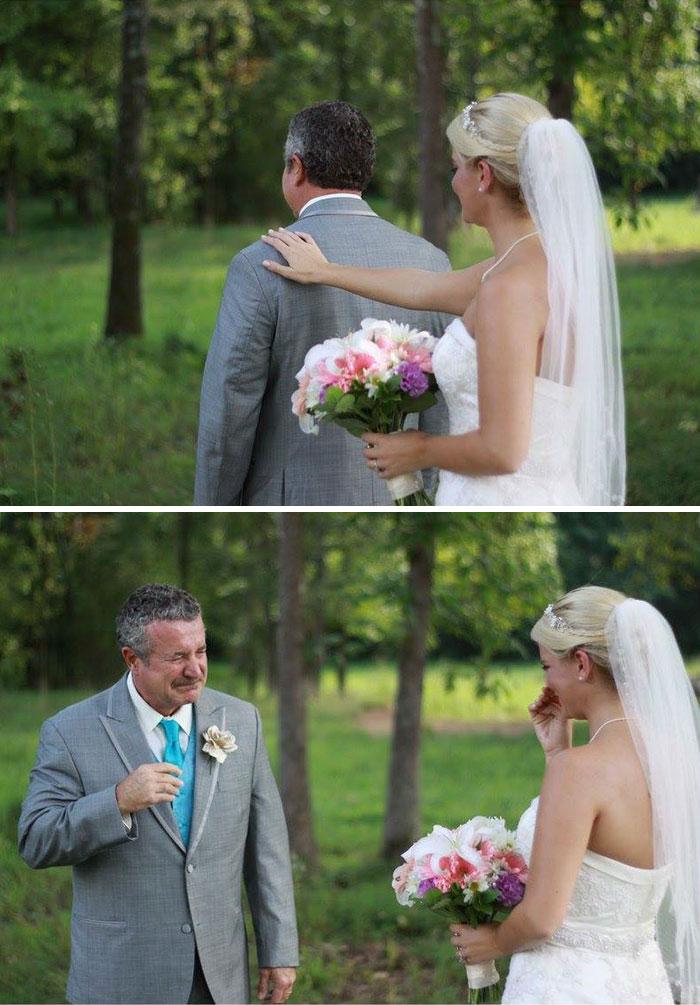20 трогательных фото отцов, впервые увидевших своих дочерей-невест